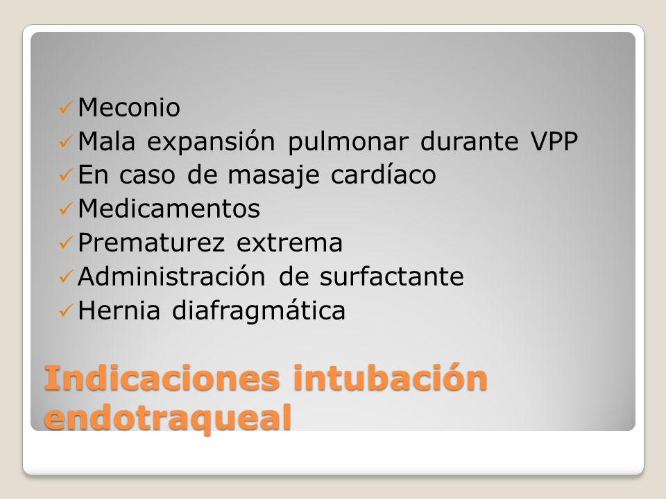 Meconio Mala expansión pulmonar durante VPP En caso de masaje cardíaco Medicamentos Prematurez extrema Administración de surfactante Hernia diafragmát
