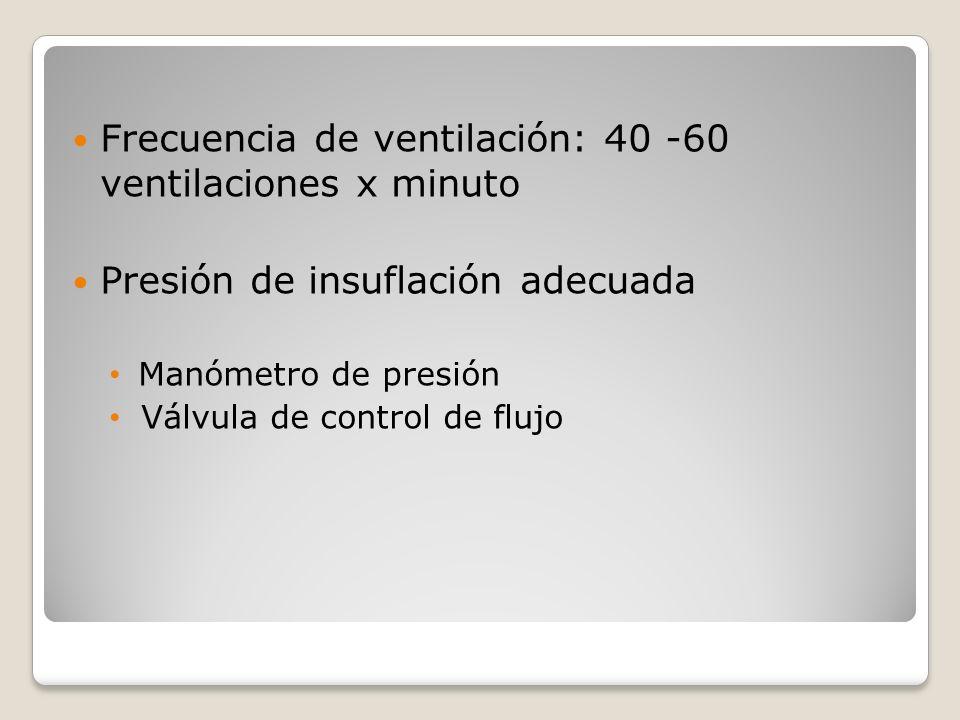 Frecuencia de ventilación: 40 -60 ventilaciones x minuto Presión de insuflación adecuada Manómetro de presión Válvula de control de flujo