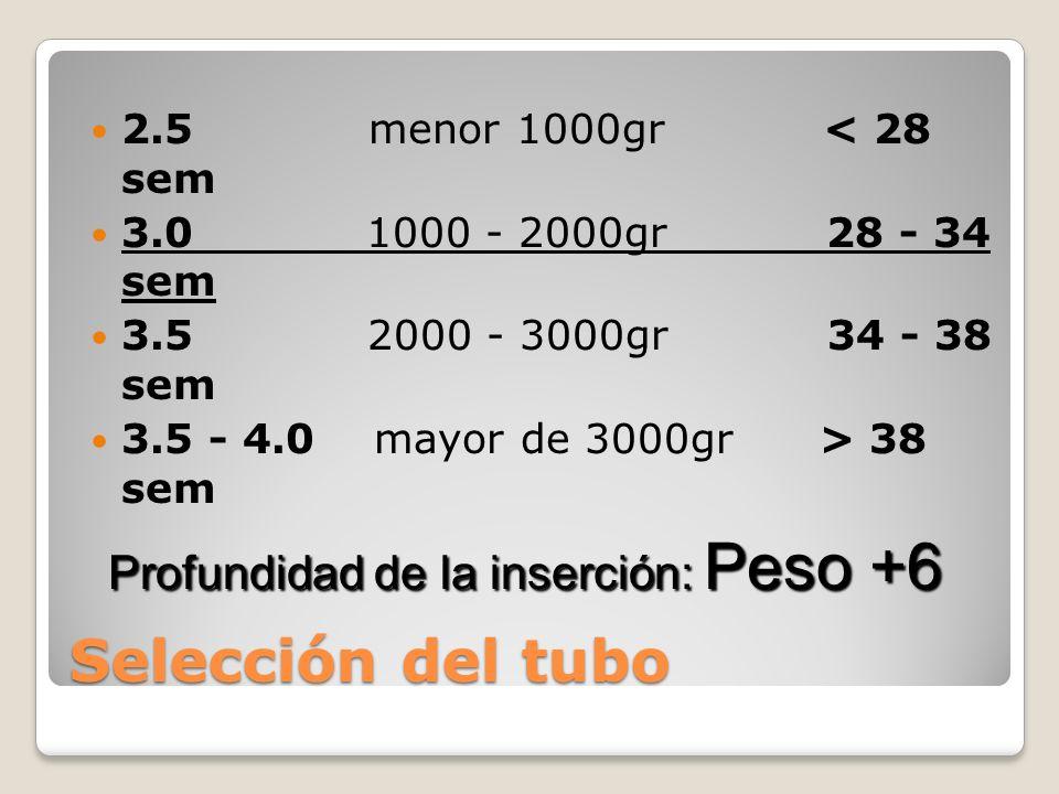 Selección del tubo 2.5 menor 1000gr < 28 sem 3.0 1000 - 2000gr 28 - 34 sem 3.5 2000 - 3000gr 34 - 38 sem 3.5 - 4.0 mayor de 3000gr > 38 sem Profundida