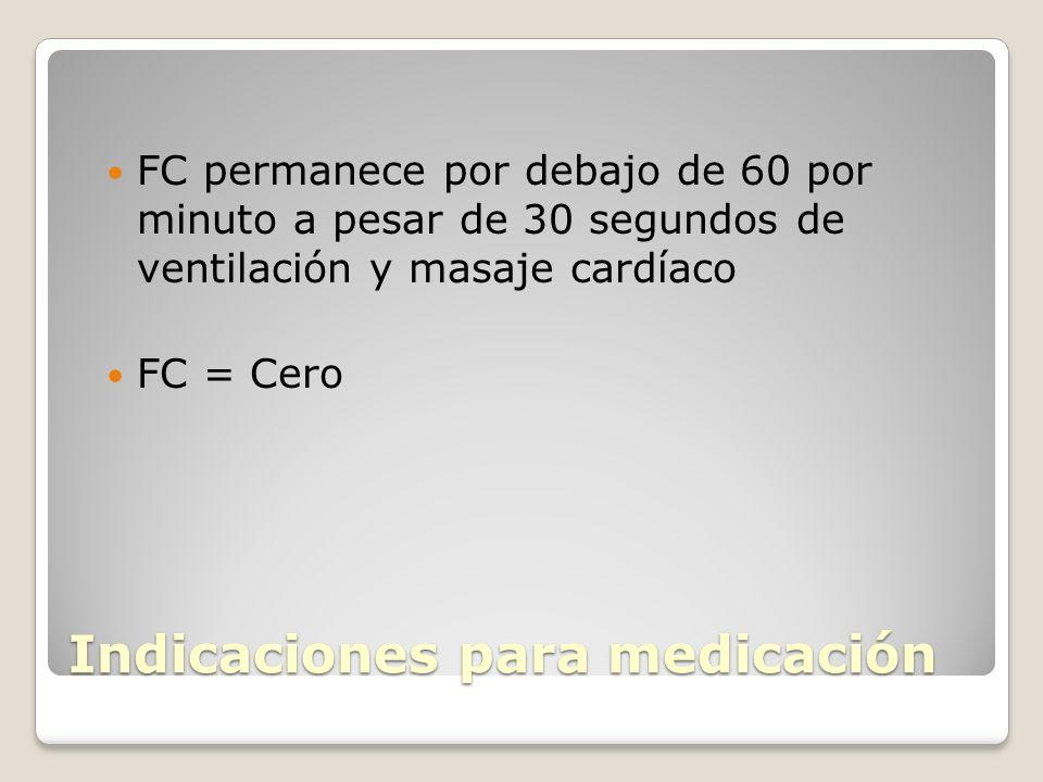 Indicaciones para medicación FC permanece por debajo de 60 por minuto a pesar de 30 segundos de ventilación y masaje cardíaco FC = Cero