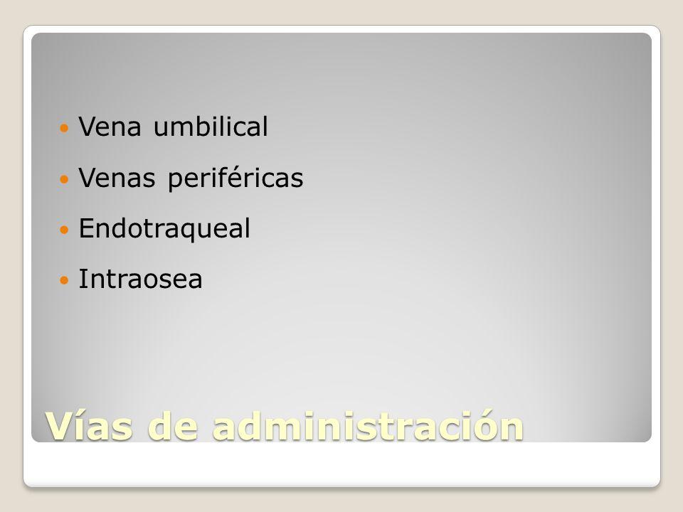 Vías de administración Vena umbilical Venas periféricas Endotraqueal Intraosea