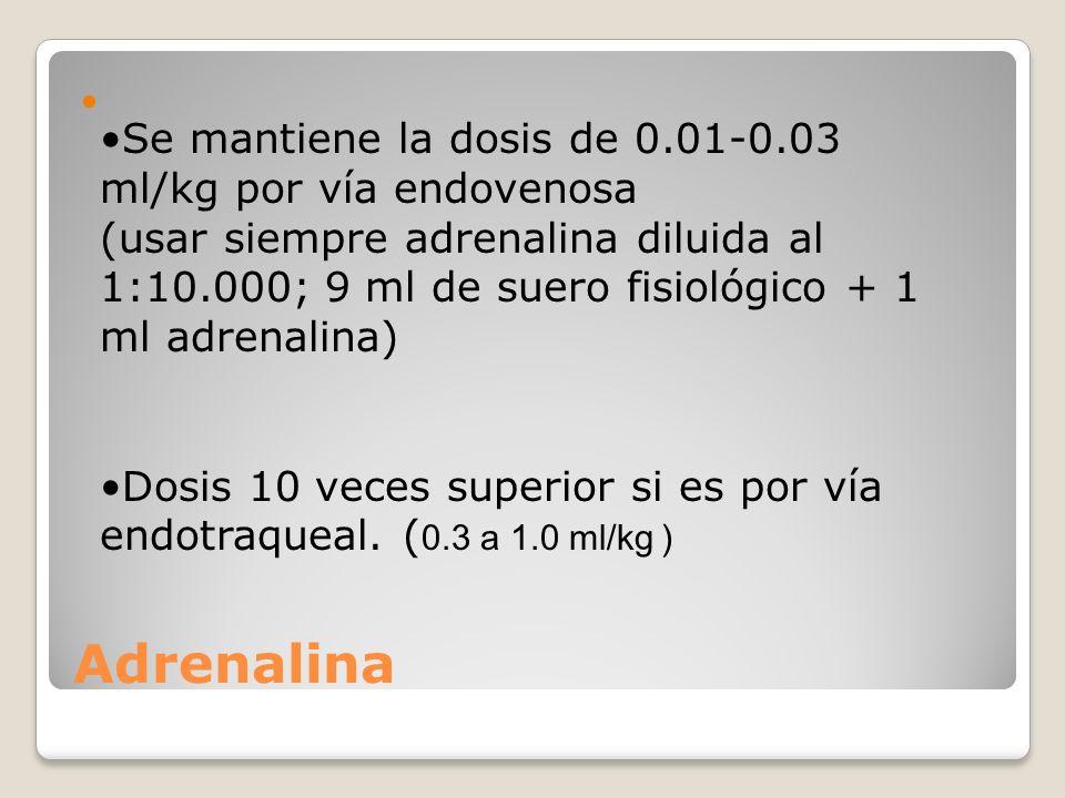 Adrenalina Se mantiene la dosis de 0.01-0.03 ml/kg por vía endovenosa (usar siempre adrenalina diluida al 1:10.000; 9 ml de suero fisiológico + 1 ml a