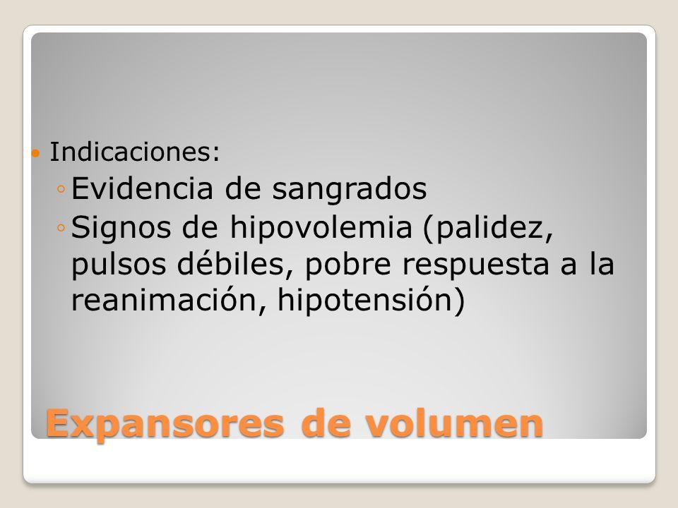 Expansores de volumen Indicaciones: Evidencia de sangrados Signos de hipovolemia (palidez, pulsos débiles, pobre respuesta a la reanimación, hipotensi
