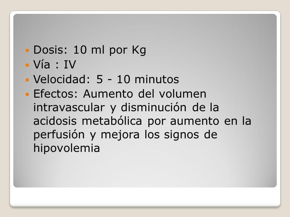 Dosis: 10 ml por Kg Vía : IV Velocidad: 5 - 10 minutos Efectos: Aumento del volumen intravascular y disminución de la acidosis metabólica por aumento
