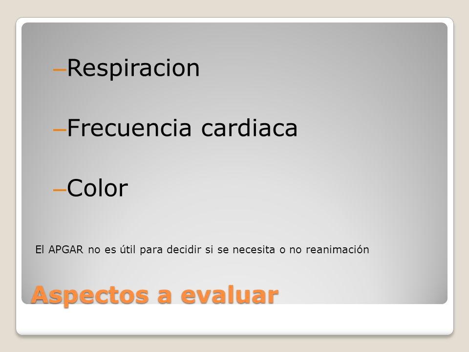 Aspectos a evaluar – Respiracion – Frecuencia cardiaca – Color El APGAR no es útil para decidir si se necesita o no reanimación