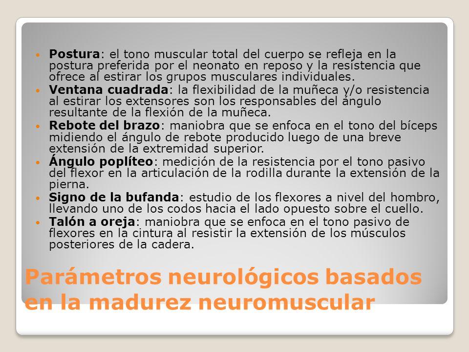 Parámetros neurológicos basados en la madurez neuromuscular Postura: el tono muscular total del cuerpo se refleja en la postura preferida por el neona