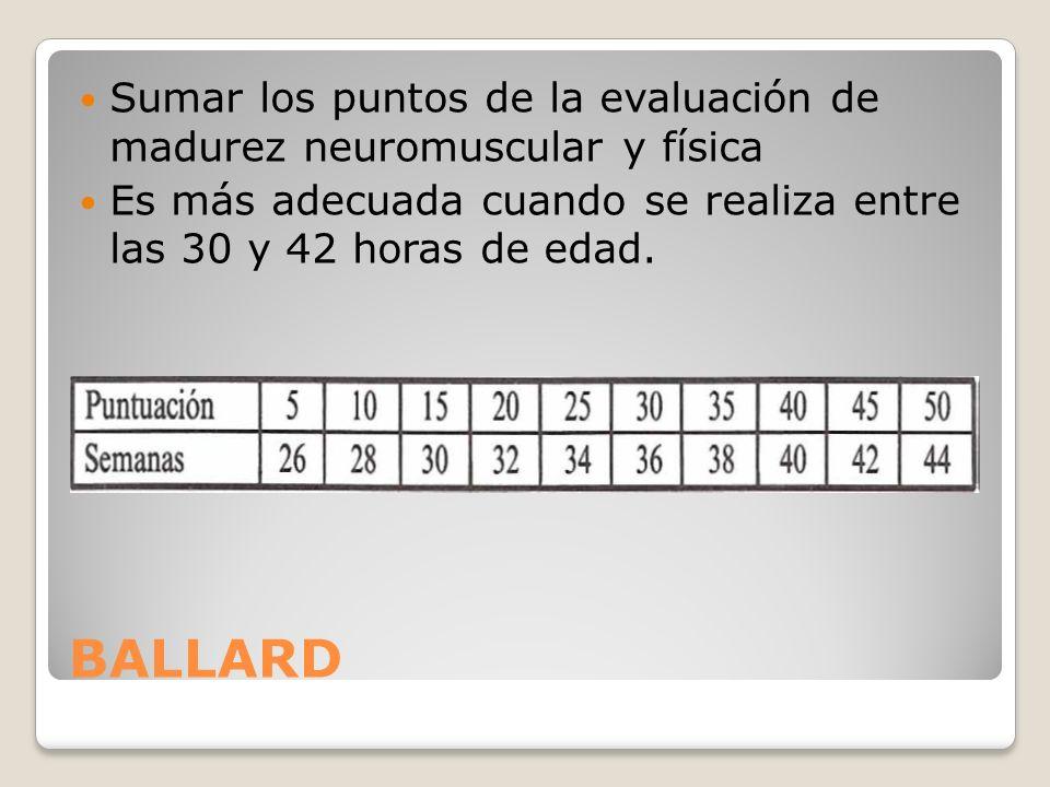 BALLARD Sumar los puntos de la evaluación de madurez neuromuscular y física Es más adecuada cuando se realiza entre las 30 y 42 horas de edad.