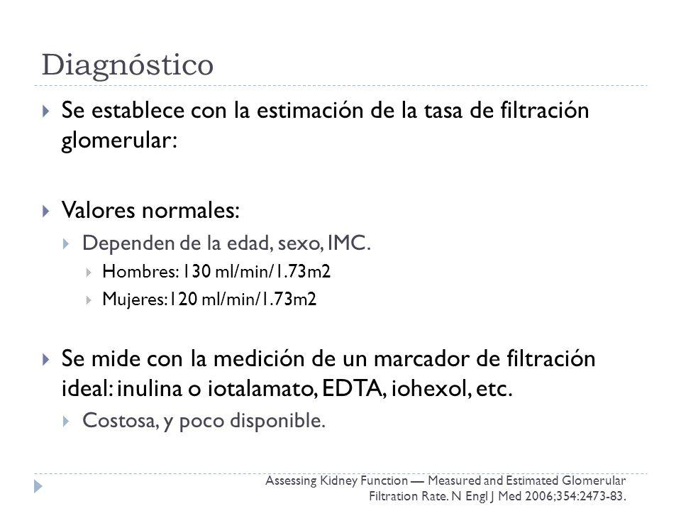 Diagnóstico Se establece con la estimación de la tasa de filtración glomerular: Valores normales: Dependen de la edad, sexo, IMC.