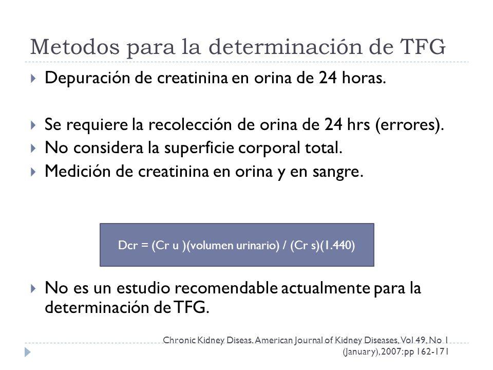 Metodos para la determinación de TFG Depuración de creatinina en orina de 24 horas.