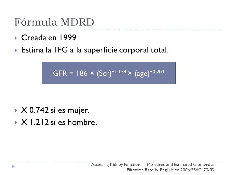 Fórmula MDRD Creada en 1999 Estima la TFG a la superficie corporal total.
