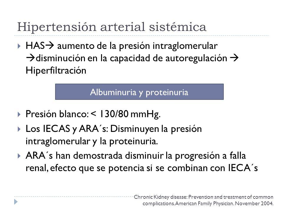 Hipertensión arterial sistémica HAS aumento de la presión intraglomerular disminución en la capacidad de autoregulación Hiperfiltración Presión blanco: < 130/80 mmHg.