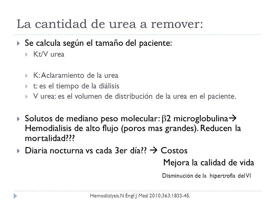 La cantidad de urea a remover: Se calcula según el tamaño del paciente: Kt/V urea K: Aclaramiento de la urea t: es el tiempo de la diálisis V urea: es el volumen de distribución de la urea en el paciente.