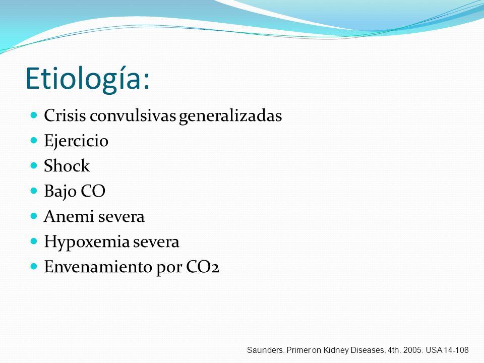 Etiología: Crisis convulsivas generalizadas Ejercicio Shock Bajo CO Anemi severa Hypoxemia severa Envenamiento por CO2 Saunders. Primer on Kidney Dise