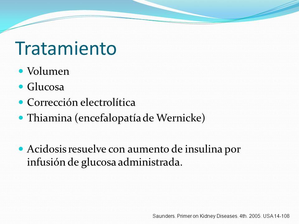 Tratamiento Volumen Glucosa Corrección electrolítica Thiamina (encefalopatía de Wernicke) Acidosis resuelve con aumento de insulina por infusión de gl