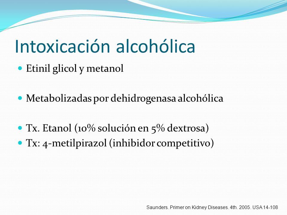 Intoxicación alcohólica Etinil glicol y metanol Metabolizadas por dehidrogenasa alcohólica Tx. Etanol (10% solución en 5% dextrosa) Tx: 4-metilpirazol