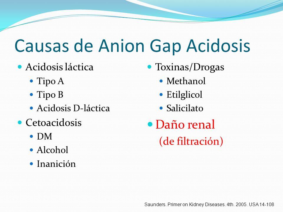 Causas de Anion Gap Acidosis Acidosis láctica Tipo A Tipo B Acidosis D-láctica Cetoacidosis DM Alcohol Inanición Toxinas/Drogas Methanol Etilglicol Sa