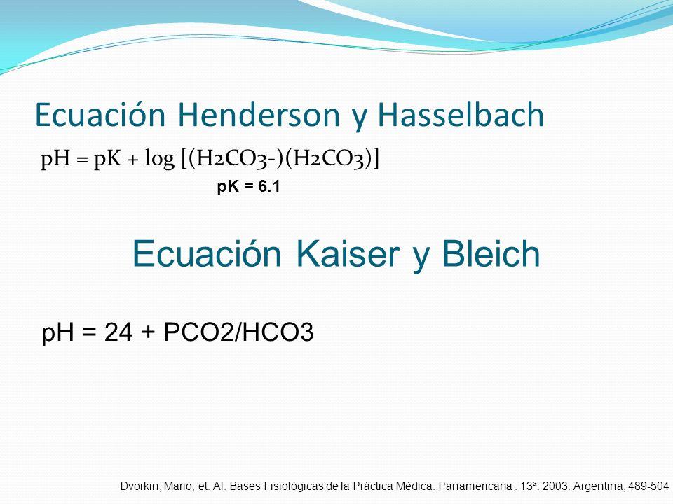 Ecuación Henderson y Hasselbach pH = pK + log [(H2CO3-)(H2CO3)] pK = 6.1 Ecuación Kaiser y Bleich pH = 24 + PCO2/HCO3 Dvorkin, Mario, et. Al. Bases Fi