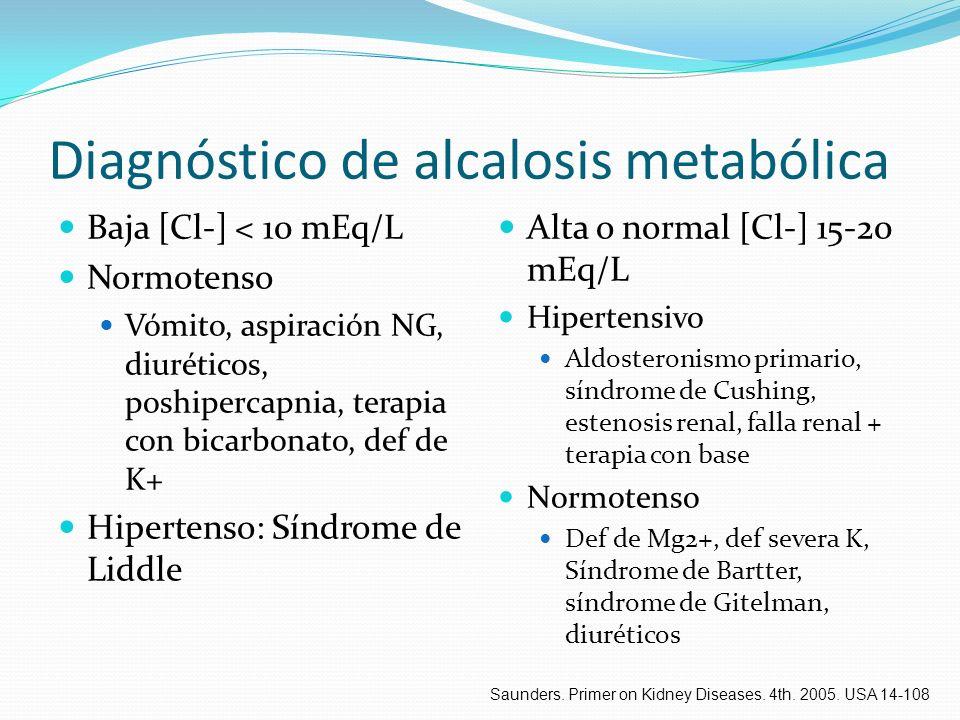 Diagnóstico de alcalosis metabólica Baja [Cl-] < 10 mEq/L Normotenso Vómito, aspiración NG, diuréticos, poshipercapnia, terapia con bicarbonato, def d