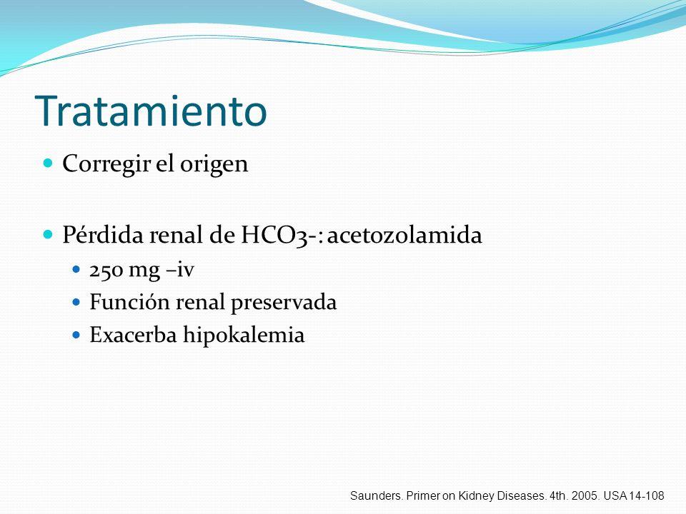 Tratamiento Corregir el origen Pérdida renal de HCO3-: acetozolamida 250 mg –iv Función renal preservada Exacerba hipokalemia Saunders. Primer on Kidn