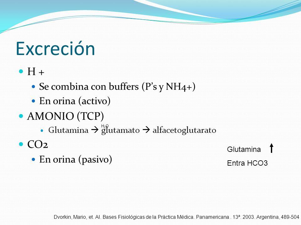 Excreción H + Se combina con buffers (Ps y NH4+) En orina (activo) AMONIO (TCP) Glutamina glutamato alfacetoglutarato CO2 En orina (pasivo) H2OH2O Glu