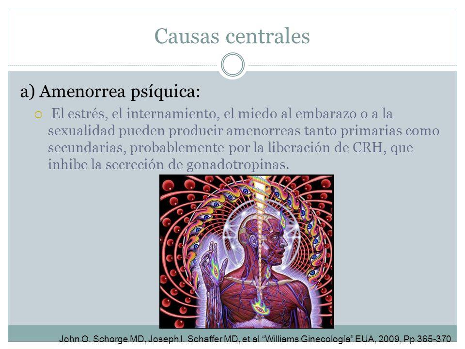 Causas centrales a) Amenorrea psíquica: El estrés, el internamiento, el miedo al embarazo o a la sexualidad pueden producir amenorreas tanto primarias