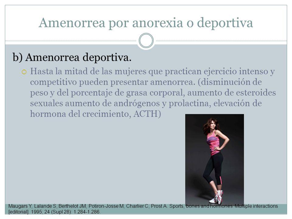 b) Amenorrea deportiva. Hasta la mitad de las mujeres que practican ejercicio intenso y competitivo pueden presentar amenorrea. (disminución de peso y