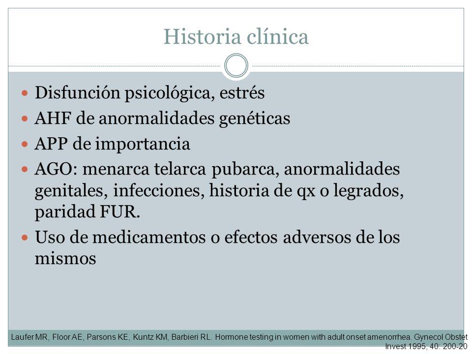 Historia clínica Disfunción psicológica, estrés AHF de anormalidades genéticas APP de importancia AGO: menarca telarca pubarca, anormalidades genitale