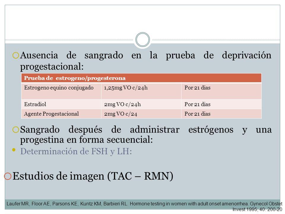 o Ausencia de sangrado en la prueba de deprivación progestacional: o Sangrado después de administrar estrógenos y una progestina en forma secuencial: