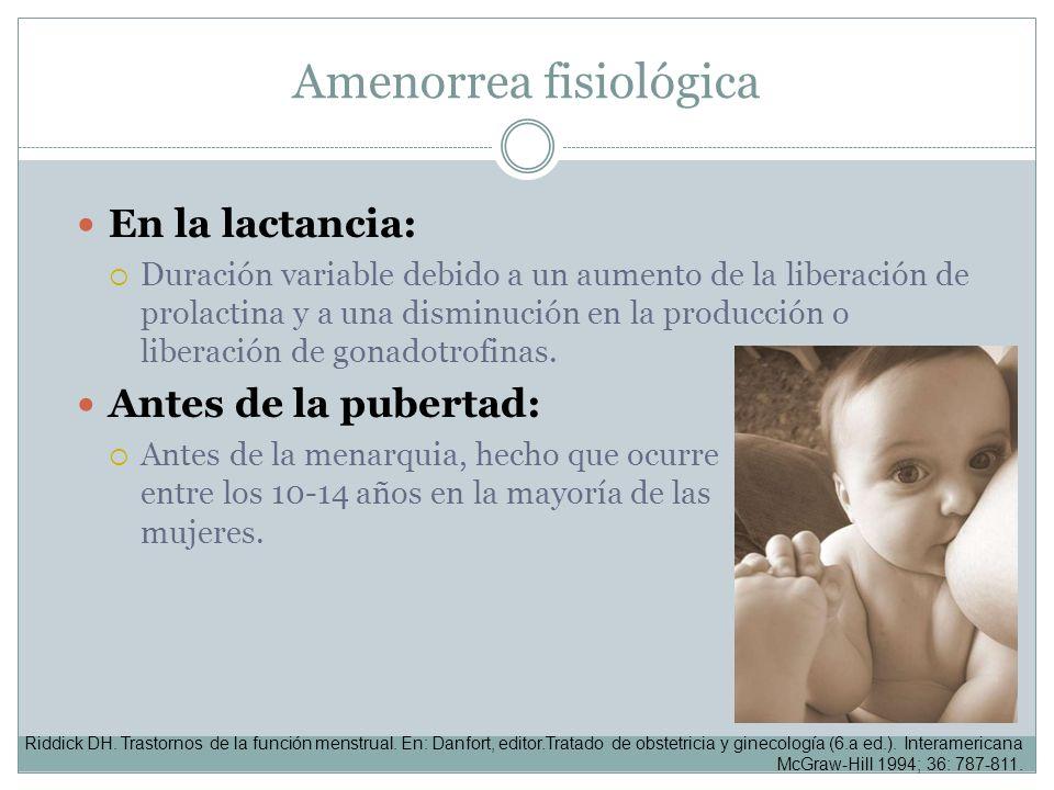 Amenorrea fisiológica En la lactancia: Duración variable debido a un aumento de la liberación de prolactina y a una disminución en la producción o lib