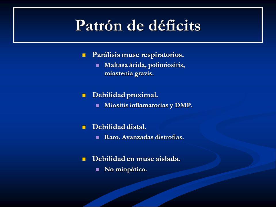 Parálisis musc respiratorios. Maltasa ácida, polimiositis, miastenia gravis. Debilidad proximal. Miositis inflamatorias y DMP. Debilidad distal. Raro.