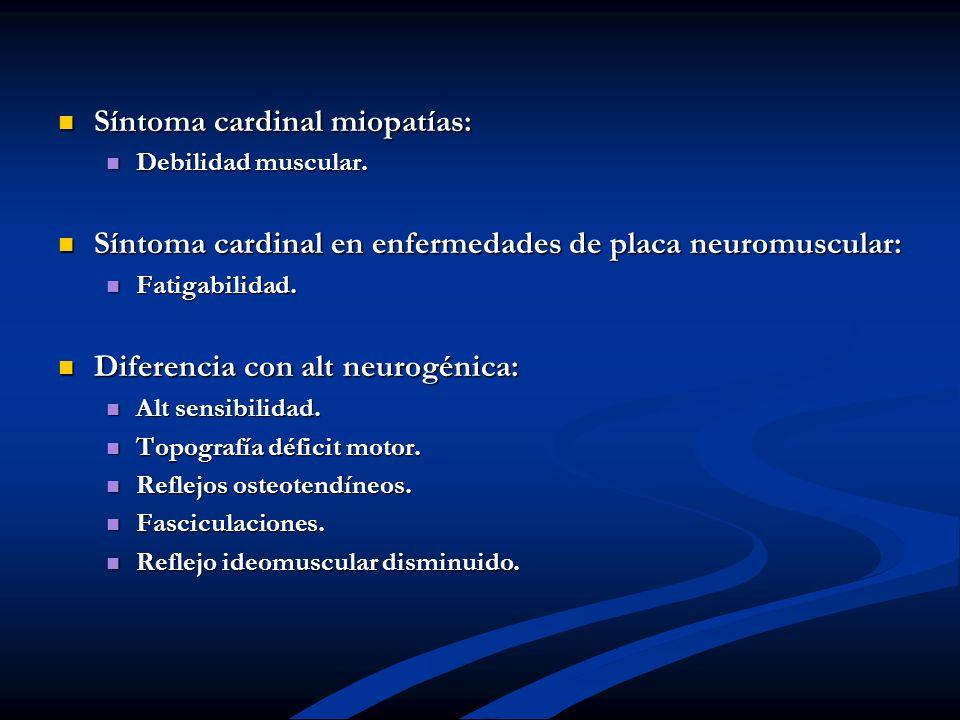 Síntoma cardinal miopatías: Síntoma cardinal miopatías: Debilidad muscular. Debilidad muscular. Síntoma cardinal en enfermedades de placa neuromuscula