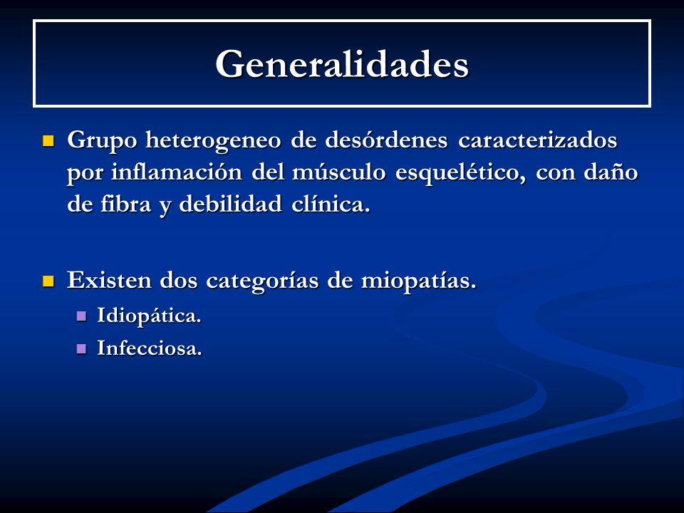 Generalidades Grupo heterogeneo de desórdenes caracterizados por inflamación del músculo esquelético, con daño de fibra y debilidad clínica. Grupo het
