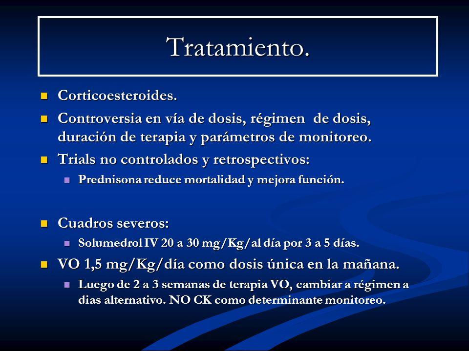 Tratamiento. Corticoesteroides. Corticoesteroides. Controversia en vía de dosis, régimen de dosis, duración de terapia y parámetros de monitoreo. Cont