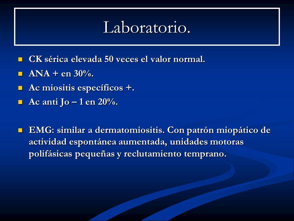 Laboratorio. CK sérica elevada 50 veces el valor normal. CK sérica elevada 50 veces el valor normal. ANA + en 30%. ANA + en 30%. Ac miositis específic