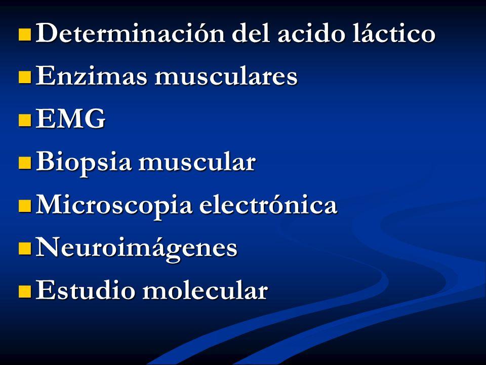 Determinación del acido láctico Determinación del acido láctico Enzimas musculares Enzimas musculares EMG EMG Biopsia muscular Biopsia muscular Micros