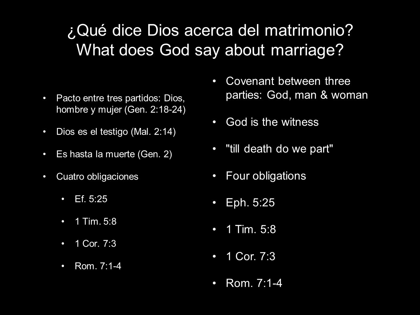 ¿Qué dice Dios acerca del matrimonio. What does God say about marriage.