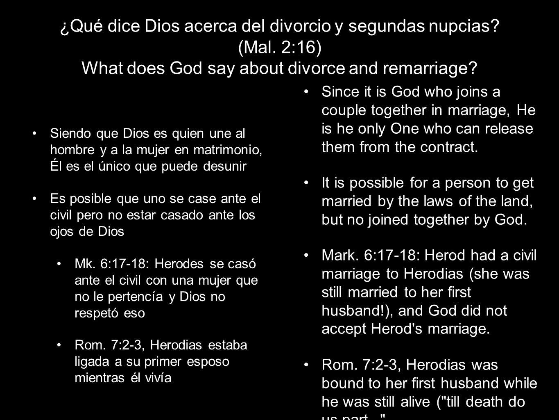 ¿Qué dice Dios acerca del divorcio y segundas nupcias.