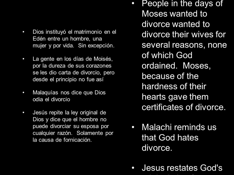 Dios instituyó el matrimonio en el Edén entre un hombre, una mujer y por vida.