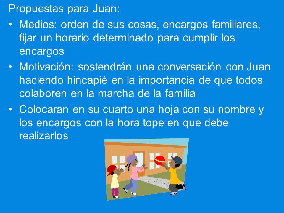 Caso 1 - Responsabilidad Situación : Ignacio y Pilar tienen 3 hijos: Pedro de 11, Juan de 9, y Martha de 5 años. El que mas les preocupa es el segundo