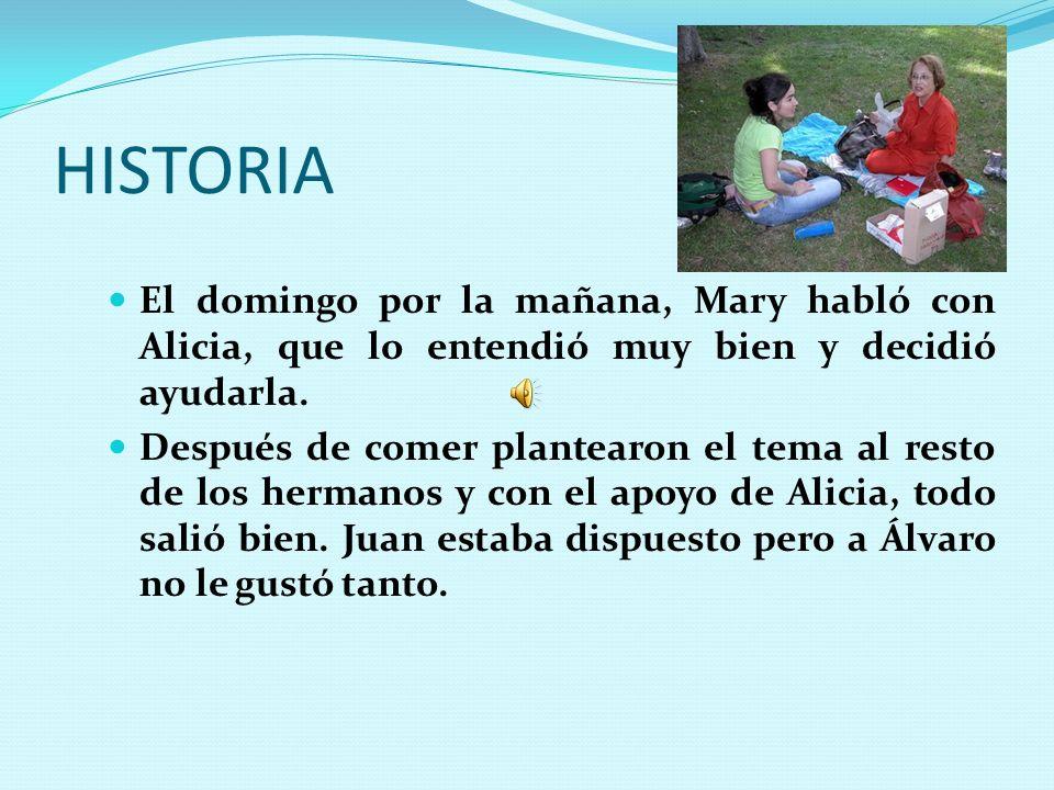HISTORIA El domingo por la mañana, Mary habló con Alicia, que lo entendió muy bien y decidió ayudarla. Después de comer plantearon el tema al resto de