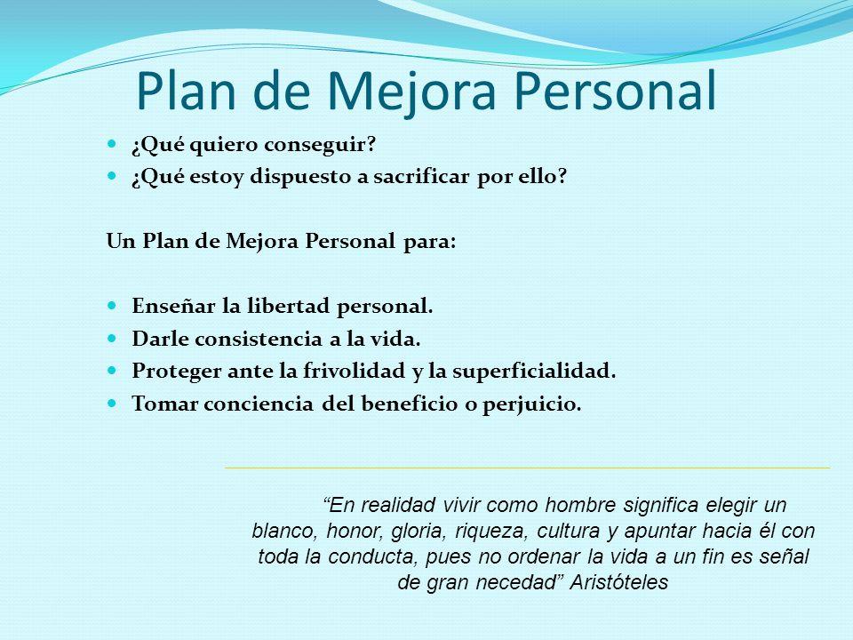 Plan de Mejora Personal ¿Qué quiero conseguir? ¿Qué estoy dispuesto a sacrificar por ello? Un Plan de Mejora Personal para: Enseñar la libertad person