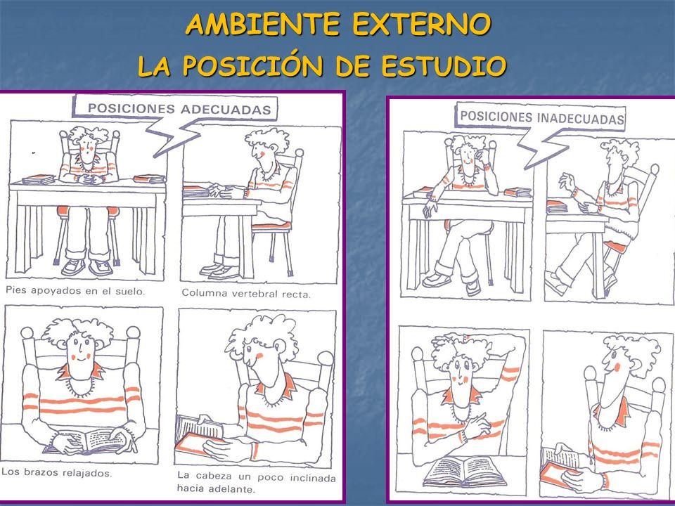 LAS CONDICIONES AMBIENTALES DE TU LUGAR DE ESTUDIO DEBEN SER: Utilizar siempre el mismo lugar de estudio: escritorio, salón, etc.