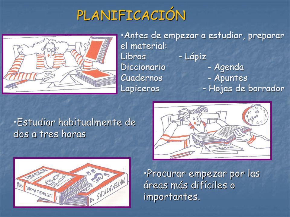 PLANIFICACIÓN Antes de empezar a estudiar, preparar el material: Libros - Lápiz Diccionario - Agenda Cuadernos - Apuntes Lapiceros - Hojas de borrador