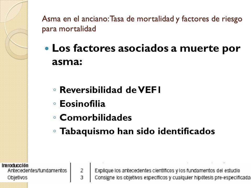 Asma en el anciano: Tasa de mortalidad y factores de riesgo para mortalidad Los factores asociados a muerte por asma: Reversibilidad de VEF1 Eosinofil