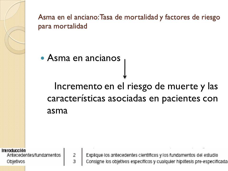 Asma en el anciano: Tasa de mortalidad y factores de riesgo para mortalidad Asma en ancianos Incremento en el riesgo de muerte y las características a