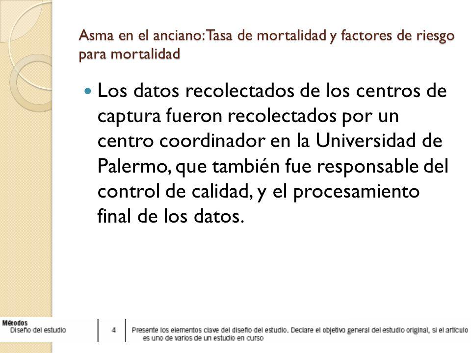 Asma en el anciano: Tasa de mortalidad y factores de riesgo para mortalidad Los datos recolectados de los centros de captura fueron recolectados por u