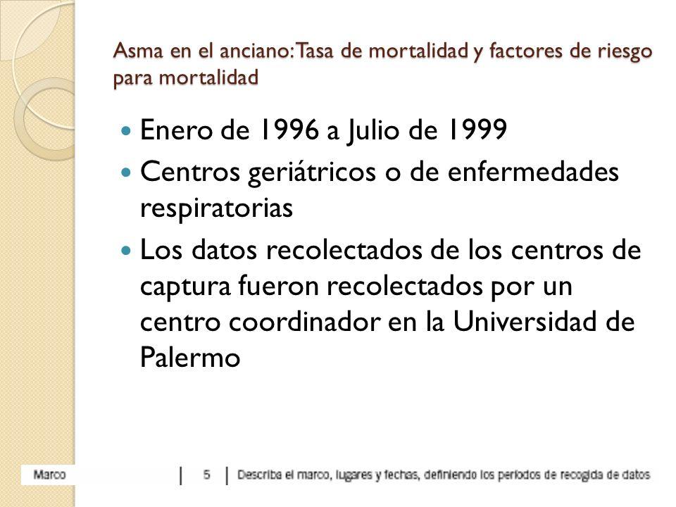 Asma en el anciano: Tasa de mortalidad y factores de riesgo para mortalidad Enero de 1996 a Julio de 1999 Centros geriátricos o de enfermedades respir