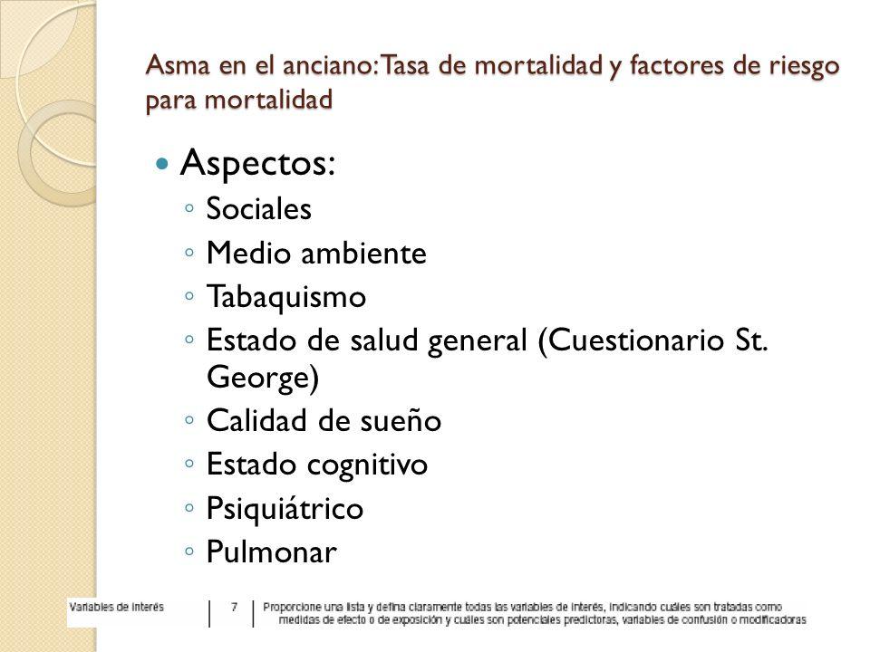 Asma en el anciano: Tasa de mortalidad y factores de riesgo para mortalidad Aspectos: Sociales Medio ambiente Tabaquismo Estado de salud general (Cues