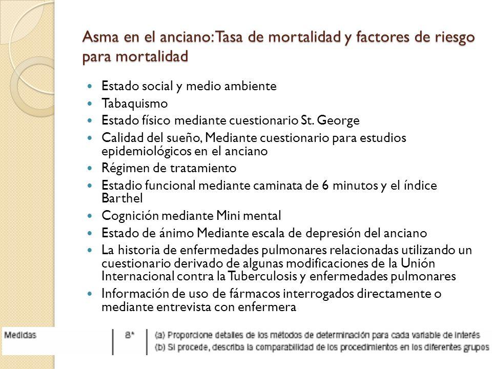 Asma en el anciano: Tasa de mortalidad y factores de riesgo para mortalidad Estado social y medio ambiente Tabaquismo Estado físico mediante cuestiona