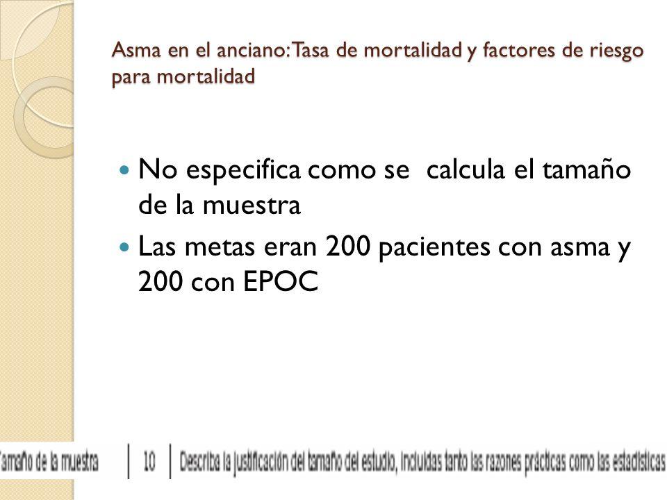 Asma en el anciano: Tasa de mortalidad y factores de riesgo para mortalidad No especifica como se calcula el tamaño de la muestra Las metas eran 200 p